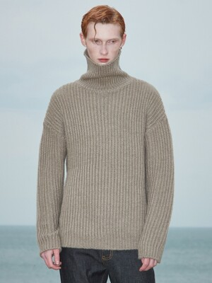 V573 HEAVY WOOL TURTLENECK KNITS_BEIGE