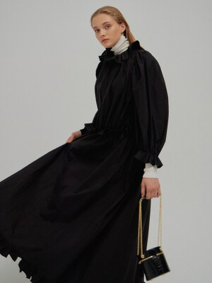 NILA Ruffled Pleated Long Dress Black