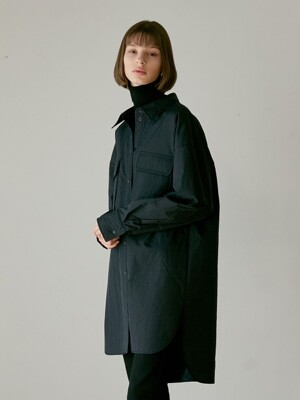 OVER FIT PADDING LONG JACKET BLACK