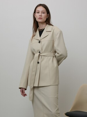 WIDE COLLAR BELTED WOOL JACKET LIGHT BEIGE UDJA0E201I1
