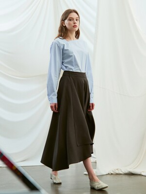 flared wrap skirt (charcoal)
