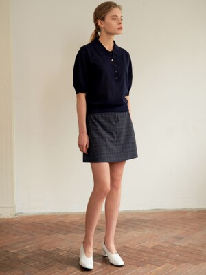 [PREMIUM CERAMICA]CHECK MINI SKIRT NAVY AESK0E002N3