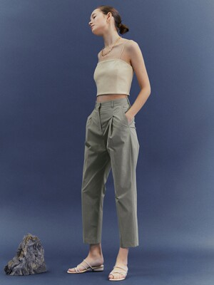 [Classy Cotton] Cotton One Tuck Tapered Trousers