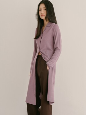 VIOLET WOOL VISCOSE COLLAR LONG CARDIGAN