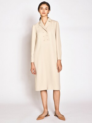 Tailored Double H Line Dress_L/Beige