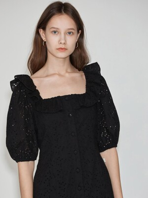 Ruffle-neck Dress [Black] JSDR0B911BK
