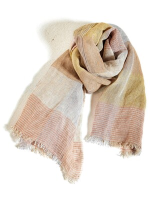 LINEN CHECK PINK SCARF