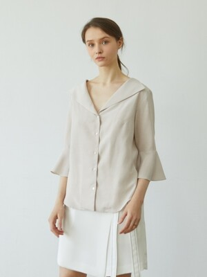 Flare Sleeve Blouse_BEIGE