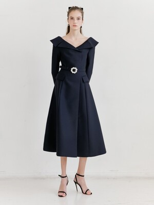 BELITA Wide v-neck notched collar detail dress with pearl belt (Deep Navy)