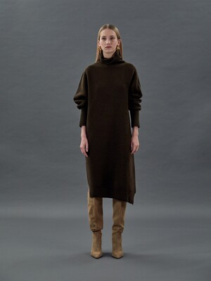 TTF CASHEMERE ASYMMETRIC KNIT DRESS 3COLOR