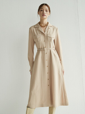 HYEHWA Notched collar shirt dress (Beige)