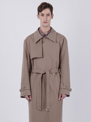 BUTTONLESS FLAP TRENCH COAT_BEIGE