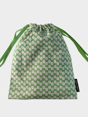 80 green flower string pouch m