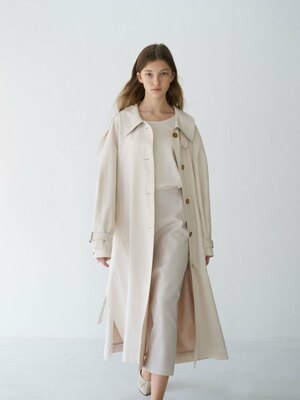 21' Spring_Cream A-Line Single Trench Coat