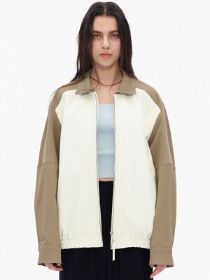 COLOR BLOCK BOMBER JACKET, WHITE