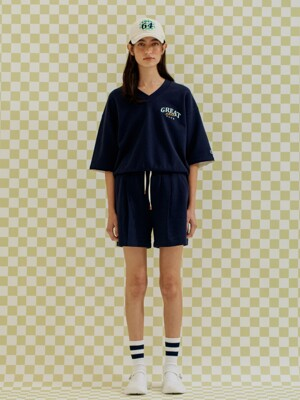 V-NECK SHORT SLEEVED SWEATSHIRT NAVY (AETS1E012N2)