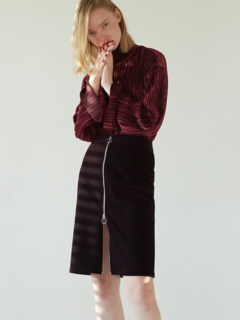 ZIPUP VELVET SKIRT - DARK WINE