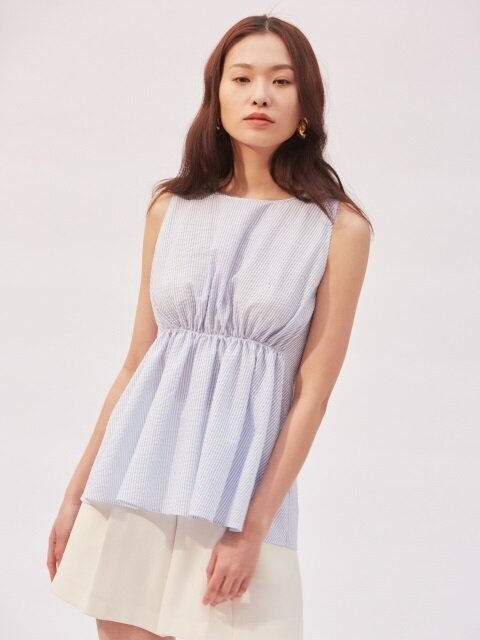 Ann Shirring Sleeveless Top