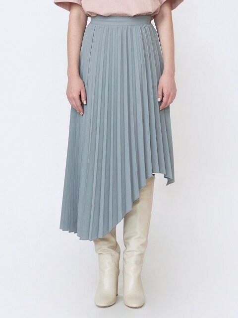 18FW PLEATED ASYMMETRICAL-HEM SKIRT - MINT GREY