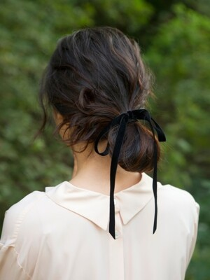 [단독] velvet ribbon hair strap 12mm (2colors)