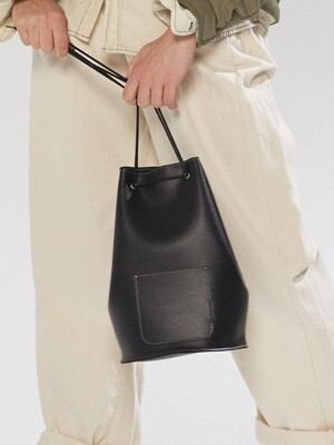 minimal cylinder bag - black color