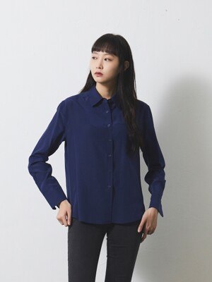 BASIC SILK SHIRT / NAVY