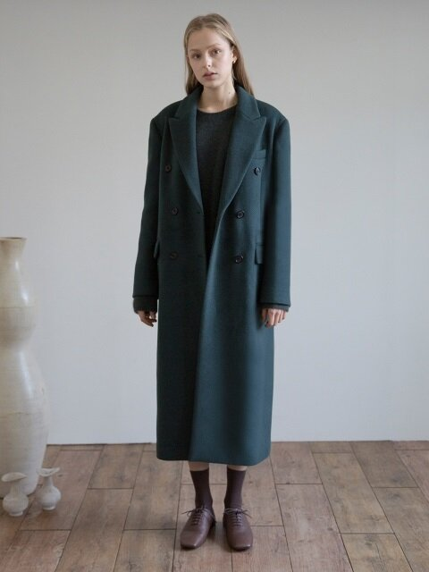Cashmere Double-breasted Coat (Blue Green)