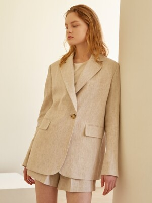 19SS NOTCHED COLLAR MELANGE BLAZER OATMEAL