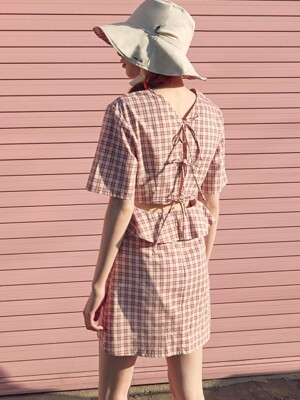(OP-19314) BACK SLIT RIBBON CHECK ONE-PIECE RED