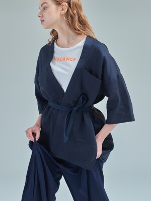 Serenity cropped robe [Calm navy]