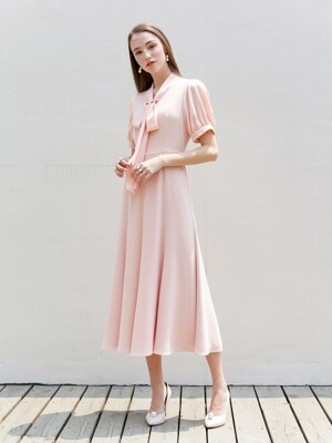 KATE ribbon tied short puff-sleeve dress (Peach pink)