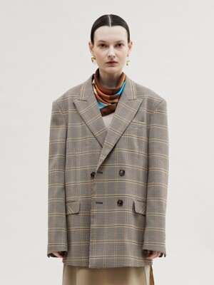 VIENNA CHECK DOUBLE BREASTED JACKET awa272u(BROWN CHECK)