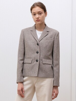 herringbone wool jacket (beige)