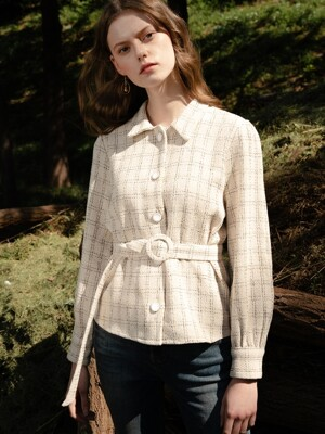 monts 1011 tweed check blouse with belt (ivory check)