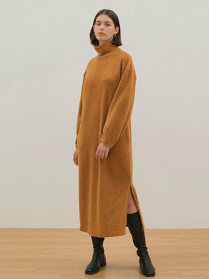 Turtleneck Knit Dress - Mustard