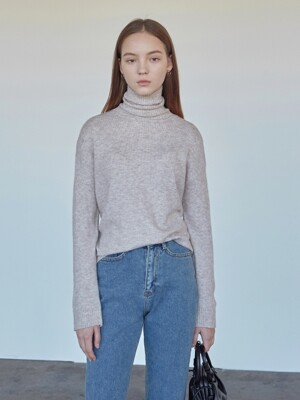 CASHMERE TURTLENECK KNIT_OATMEAL