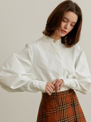 [By Joorti] J382 cuffs puff blouse (white)