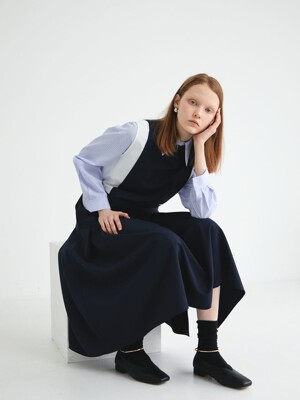 20' SPRING_Navy Pleats layered Dress