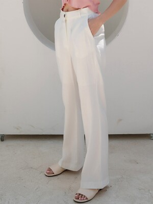 Semi Wide Linen Herringbone White Slacks
