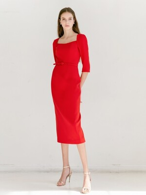 ODETTE Square neck Three-qurater sleeve H-line midi dress (Red)