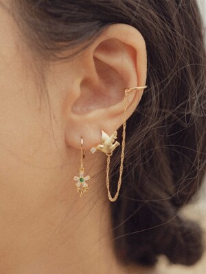Flower and bird earcuff 2set Earring
