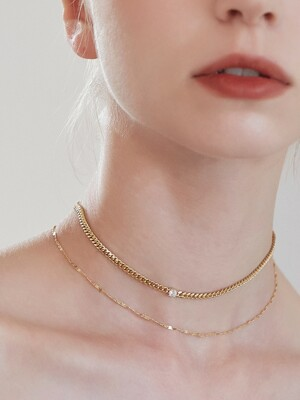 [2SET]MINI CUBIC CHAIN LAYERED CHOKER NECKLACE SET_SE0116