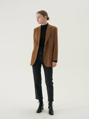 20' Fall_Vintage Brown Wool Herringbone Blazer