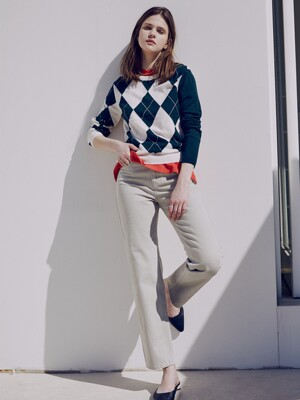 [FRONTROW x RePLAIN] Argyle Intarsia Knit Top +  Mid-rise Straight Jeans_Beige SET