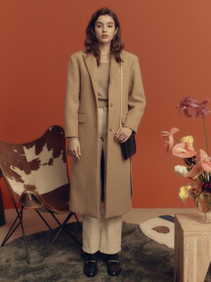 Wool Single Maxi Coat in Beige_VW0WH0210