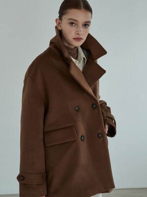 amr1168 overfit half coat (brown)