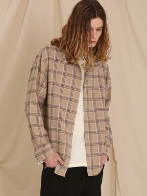CHECK DETAIL SHIRTS (BEIGE)
