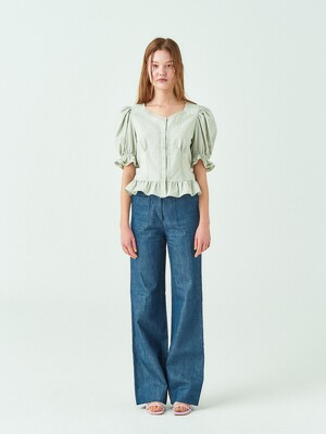 Heidi Puff Blouse in Khaki