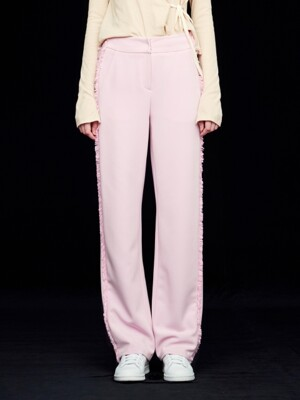 FRINGE STRAIGHT PANTS_PINK/BLACK