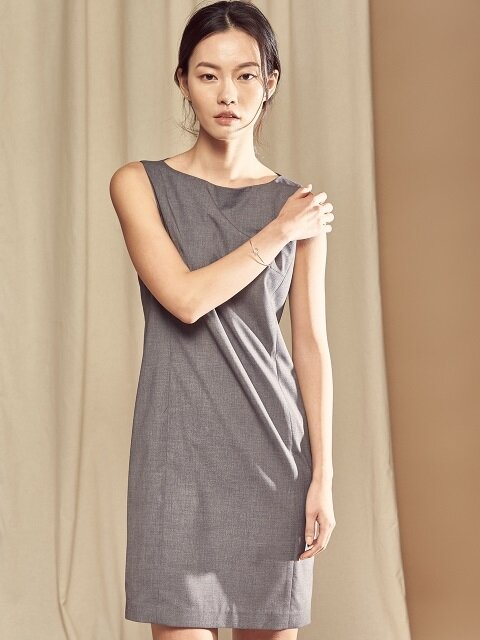 sleeveless dress grey